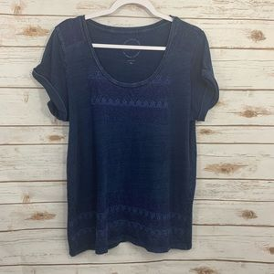 Lucky Brand Distressed Washed Out Navy Blouse